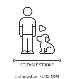 Animals welfare and help linear icon. Pup and master. Pet adoption from shelter. Volunteer activity. Thin line illustration. Contour symbol. Vector isolated outline drawing. Editable stroke