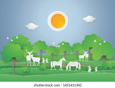 Animals  wildlife in the green forest on spring season,Eco earth day and world environment day concept.Save the World, vector and paper craft style, vector and illustration.