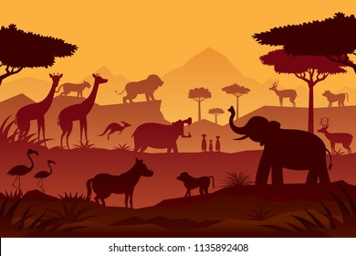 Animals and Wildlife Sunrise or Sunset Background, Silhouette, Nature, Zoo and Safari