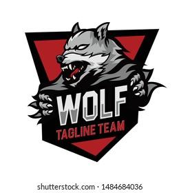 Animals Wolf Head Logo Badge esports