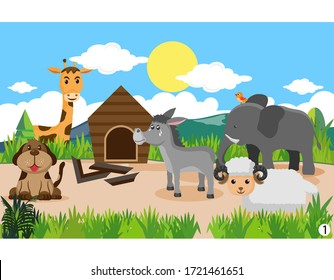 Animals in the wood. Cartoon vector illustration, donkeys, giraffes, dogs, birds, elephants and sheep, the donkey is sad because his house is broken, part 1