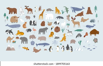 Animals world for kids. Poster with cute vector animals in flat style. Cartoon doodle characters in scandinavian style for children