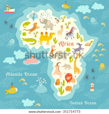 Animals World Map Africa Beautiful Colorful Stock Vektorgrafik