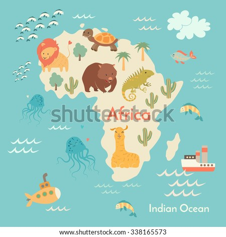 Animals World Map Africa Africa Map Stock Vektorgrafik Lizenzfrei