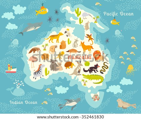 Animals World Map Australia Australian Animals Stock Vector Royalty