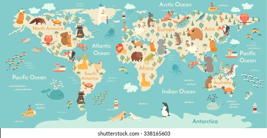 Animals world map for children, kids. Animals poster. Continent animals, sea life. South America, Eurasia, North America, Africa, Australia poster. World map vector illustration, preschool, oceans