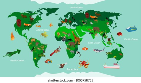 Funny cartoon world map traditional animals stock vector hd royalty animals world map educational animals different species continent animals sea life south gumiabroncs Images