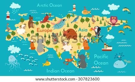 Animals World Map Eurasia Vector Illustration Stock Vector Royalty