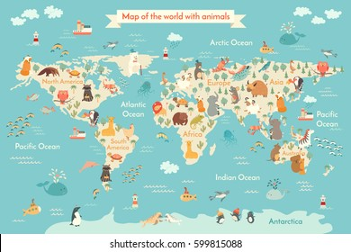 Animals world map for kid. World vector poster for children, cute illustrated. ?artoon globe with animals. Oceans and continent: South America, Eurasia, North America, Africa, Australia.Baby world map