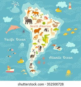 Animals world map north america vector stock vector 307790207 animals world map south america south american animals posteruth america mammals cartoon gumiabroncs Image collections