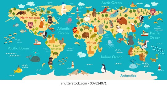 Animals world map. Vector illustration, preschool,  baby, continents, oceans, drawn, Earth.