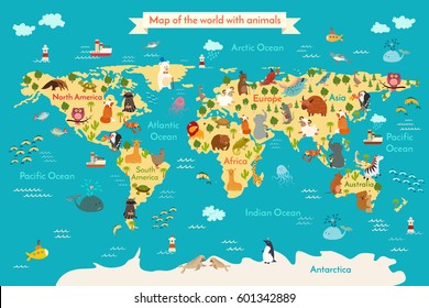 Animals world map vector illustration preschool vectores en stock animals world map vector illustration preschool babycontinents oceans drawn gumiabroncs Images
