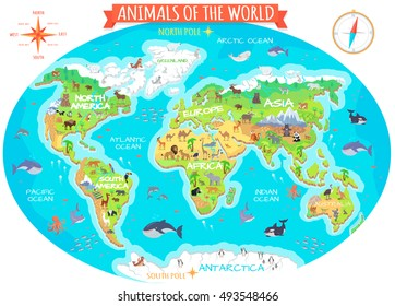 Animals of the world vector. Flat style animals. World globe with map of continents and different animals in their habitats. Northern, african, american, european, asian fauna animals. Book design