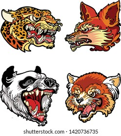 Animals-Head-design-for-embroidery-patch, animal artic logo vector