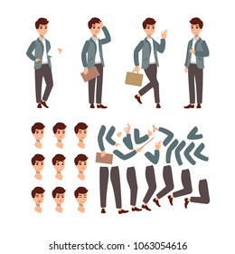 Animate Businessman character set. Animate character. Male personage constructor. Different man postures. Vector set personage.