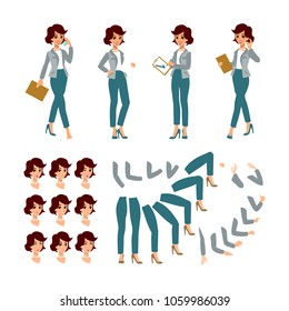 Animate businesswoman character. Young lady personage constructor. Different woman postures, face, legs, hands. Vector cartoon person.