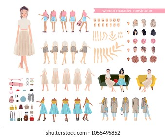 Animate character. Young lady persona constructor. Different woman side andpostures, hairstyle, face, legs, hands, clothes, accessories collection. Vector cartoon girl personage.