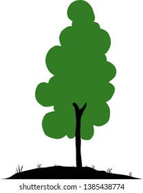 animated beautiful green tree vector