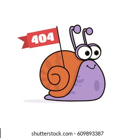 Animated Cartoon Funny Smiling Lazy Snail Character Carrying Flag Poster with Logo Copyspace in Minimalist Flat Vector Isolated on Clear White Background