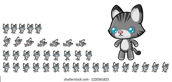 Animated cat game character for creating adventure video games