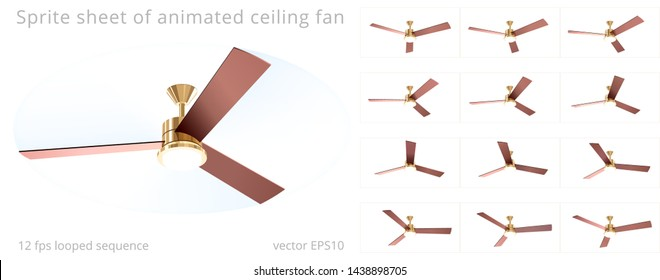 Animated ceiling fan. Vector 3D model. Sequence with a 12 fps frame rate. Sprite sheet of looped animation. Chandelier with a wooden three blade propeller. Summer mode with a counterclockwise rotation