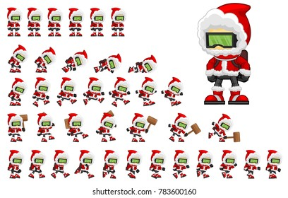 Animated Christmas boy game character for creating winter video games