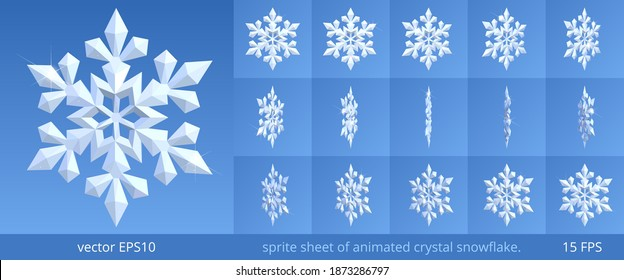Animated crystal snowflake. Turning 3d icon of a winter and frost. Vector sprite sheet for GIF, html, flash animation. Looped frame sequence. 15 FPS. Sparkling pieces of snow on a blue background.