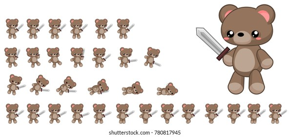 Animated cute bear character for creating fantasy video games