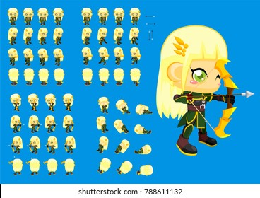 Animated cute girl archer character for creating fantasy medieval video games