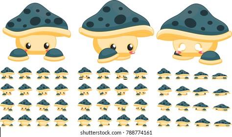 Animated cute mushroom creature for creating fantasy adventure video games