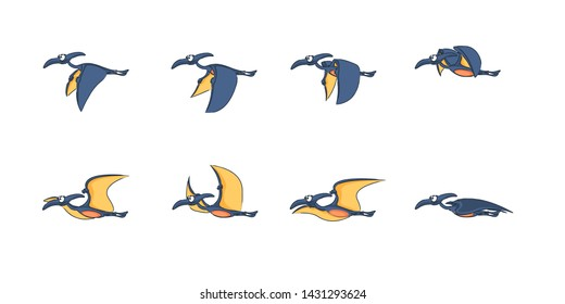 Animated dinosaur character for creating video games or animations cartoons. Dinosaur pterodactyl fly in vector.