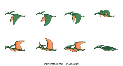 Animated dinosaur character for creating video games or animations cartoons. Pterodactyl fly in vector.