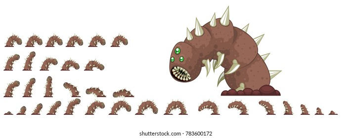 Animated giant worm game character for action video games