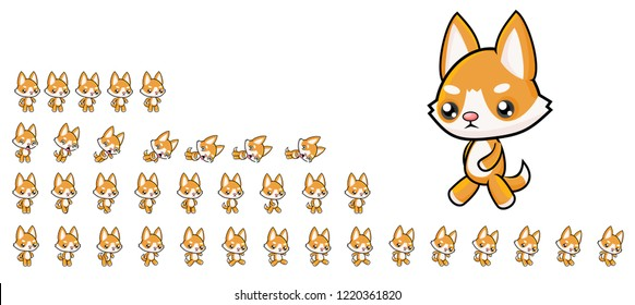 Animated ginger dog game character for creating adventure video games