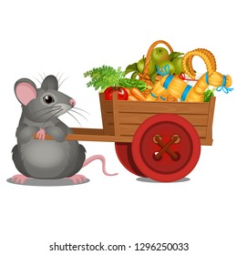 Animated gray mouse carries a wooden cart with a harvest of ripe vegetables and straw goat isolated on white background. Vector cartoon close-up illustration.