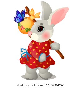 Animated hare with a bag and clothes isolated on white background. The character of Russian folk tales. Vector cartoon close-up illustration.