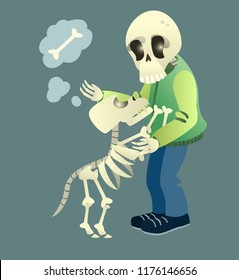 Animated human and dog skeletons. Dog asking owner for food. Halloween cartoon character isolated flat vector illustration. Halloween party concept.