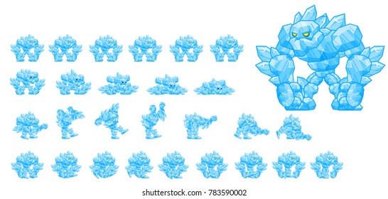 Animated ice golem character for fantasy video games