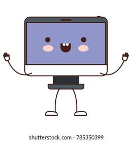 animated kawaii desktop computer in colorful silhouette
