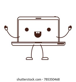animated kawaii laptop computer in monochrome silhouette