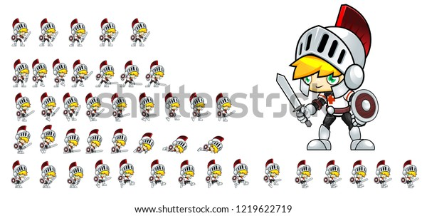 Animated Knight Game Character Creating 2d Stock Vector