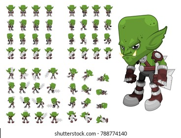 Animated orc character for creating fantasy medieval video games