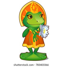 Animated Princess frog in clothes isolated on white background. The character of Russian folk tales. Vector cartoon close-up illustration.