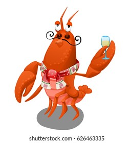 Animated red lobster delivers a holiday toast with a glass of wine in claws isolated on white background. Vector cartoon close-up illustration.