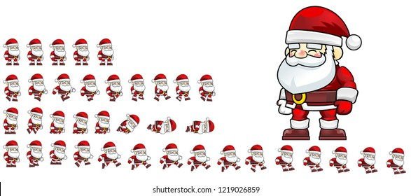 Animated Santa Claus game character for creating Christmas games