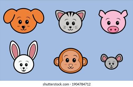 Animated set of cute animal faces namely dog, cat, pig, rabbit, monkey and mouse on light blue background