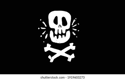 animated skull and cross bones in cartoon illustration style. doodle drawing design vector of pirate logo. representing of death, warning, gothic, monster, danger, etc.