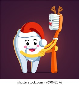Animated tooth character wearing Santa Claus hat and beard holding hands, embracing toothbrush with deer antlers. New Year & Christmas themed tooth & brush illustration. Flat style vector.