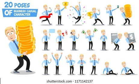Animated young businessman big set. Man holding winner cup, golden coins, megaphone and dollar banknotes. Talking on phone and taking selfie photo. Corporate business personage vector illustration