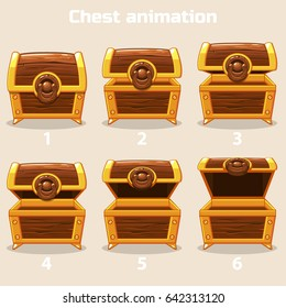 Animation antique old box, step by step open and closed wooden Treasure chest